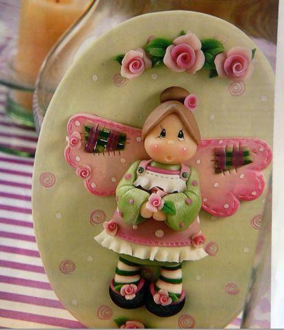 cuadro de un angelito en porcelana fria