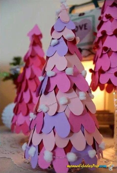 Arbol de navidad con corazones paso a paso
